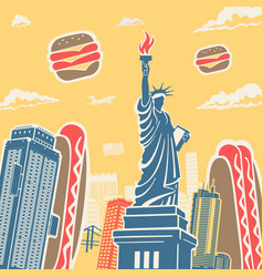 american symbols architecture and food background vector image vector image