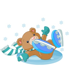 bear fell on the ice rink vector image vector image