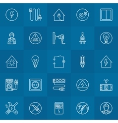Electricity linear icons set vector image vector image