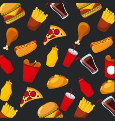 fast food pizza hot dog soda sauce seamless vector image