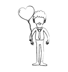 Figure man with beard and heart balloon in the vector