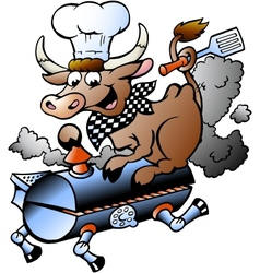 Hand-drawn of an Chef Cow riding a BBQ barrel vector image