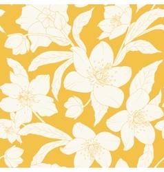 Hellebore Christmas rose flowers pattern yellow vector image