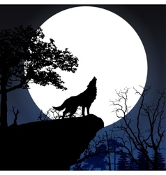 Howling to the full moon vector