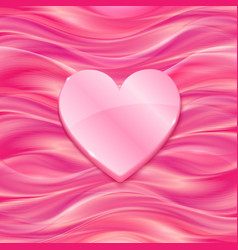 Pink glossy heart on silky background vector image
