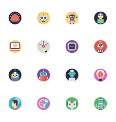 a pack of artificial intelligence flat icon vector image vector image