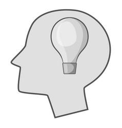 burning light bulb in human head icon monochrome vector image