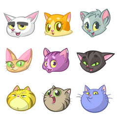 cartoon set of funny cats icon heads vector image