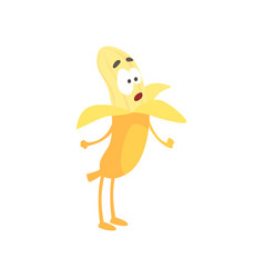 cute surprised banana cartoon funny fruit vector image vector image