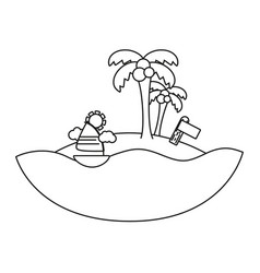 Line palms with sailing boat around of island vector