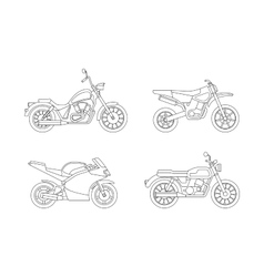 Motorcycle line icons set vector image vector image