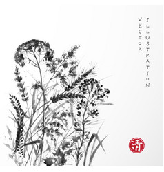 silhouettes of meadow grass on white background vector image