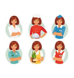 women profession set vector image