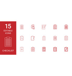 15 checklist icons vector image