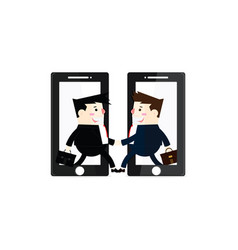 2 businessmen contact by phone vector