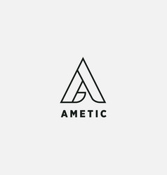abstract letter a triangle shape logo design vector image