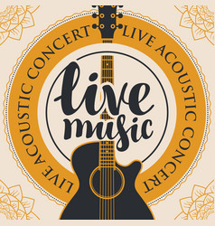 Banner for live music with acoustic guitar vector