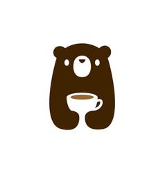 bear cub cup coffee tea drink logo icon vector image