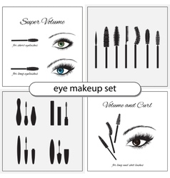 Beautiful eye with makeup accessories vector