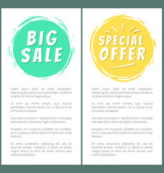 Big sale special offer advert stickers set labels vector