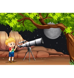 Boy looking through telescope at night vector