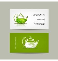 Business cards design green trea sketch vector