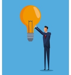 Business man bulb idea solution design vector