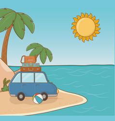 car in beach scene vector image