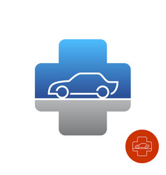 car service help logo medical cross with car vector image