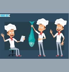 cartoon flat chef cook boy character set vector image