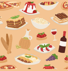 cartoon italy food cuisine traditional seamless vector image