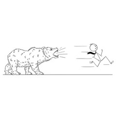 cartoon of businessman running from bear vector image