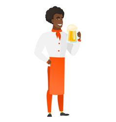 Chef cook drinking beer vector