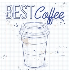 Coffee to go on a notebook page vector