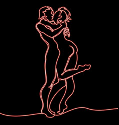 Continuous line loving couple kissing neon concept vector