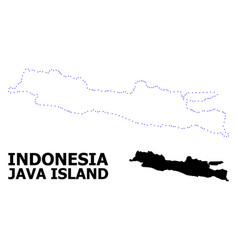 Contour dotted map java island with name vector