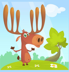 cool cartoon moose character vector image