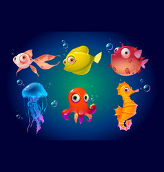 cute sea animals fish octopus jellyfish puffer vector image