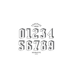 Decorative serif bulk numerals for logo and title vector