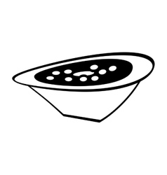 Delicious soup plate food hot outline vector