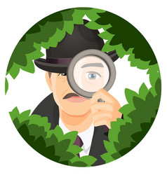 Detective with mustaches hides in thick bushes vector
