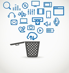 Different icons flowing into a garbage basket vector image