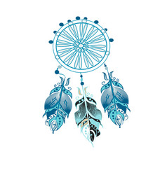 Dream catcher decorated with feathers and beads vector