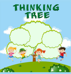 Environmental theme with thinking tree vector