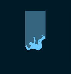 Falling man male blue silhouette on black vector