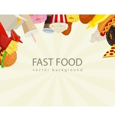 Fast food background with colorful fast food icons vector image