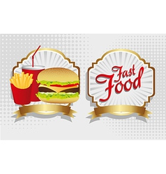 Fast food combo with a burger french fries and sod vector