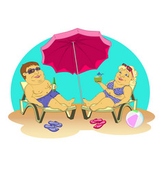 Fat people on the beach vector