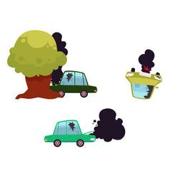 flat cartoon car accidend crash set vector image