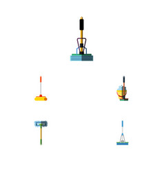 Flat icon mop set of cleaning cleaner broom and vector